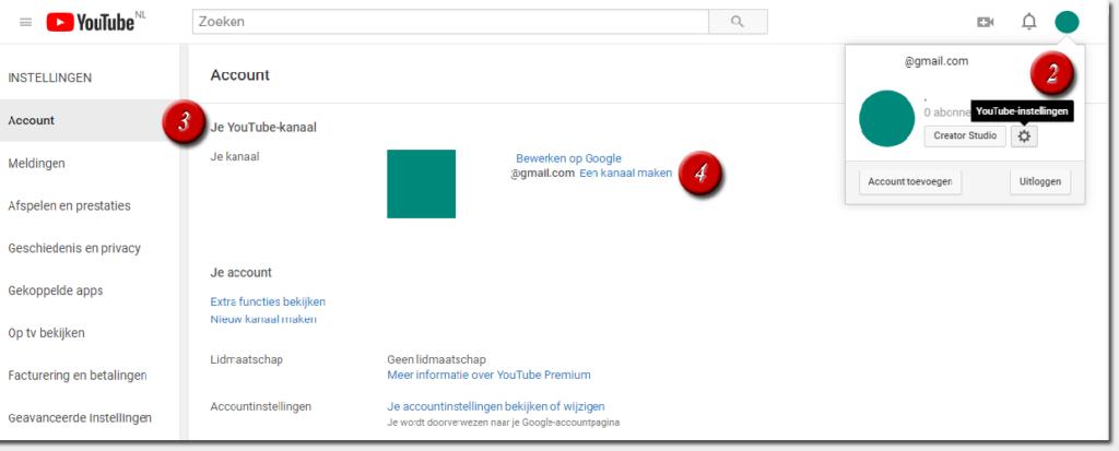 YouTube-instellingen