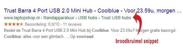 Google broodkruimel snippets