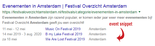 Google events rich snippets
