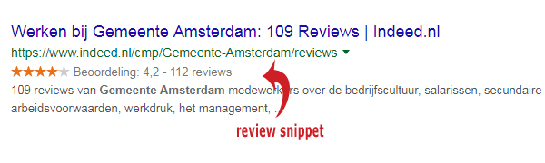 Google reviews rich snippets